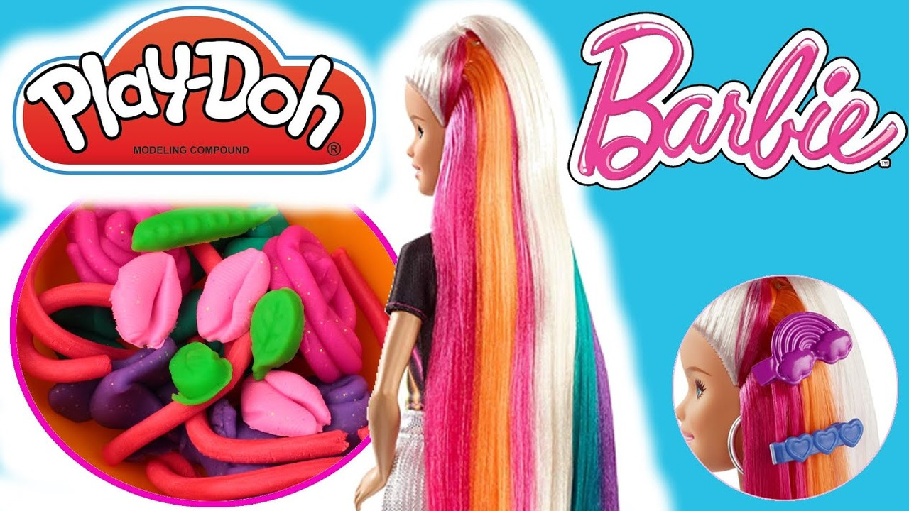 Barbie Błyszczące Tęczowe Włosy Play Doh Kuchnia Tęczowy Makaron Diy