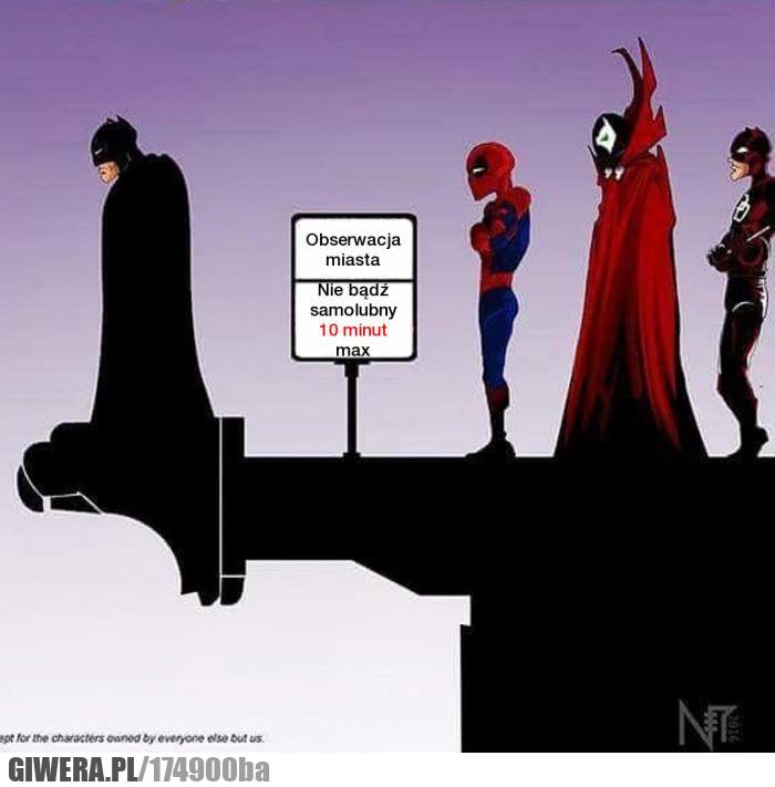 Obserwacja miasta,batman,spiderman