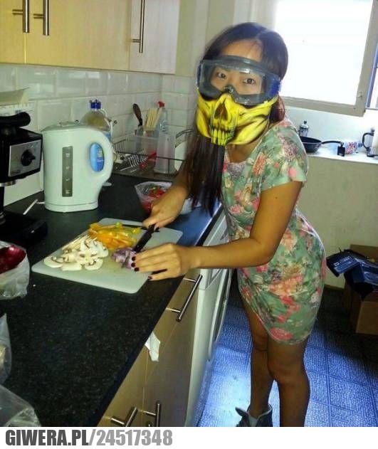 gotowanie,pasja,maska,cebula,krojenie