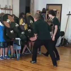 Demonstrating the shield wall technique