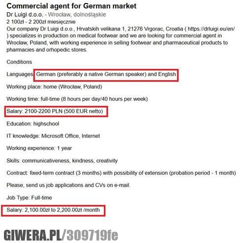 Wymagania firmy mają światowe. Pensje Polską