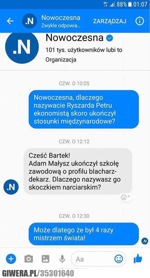Nowoczesna,Adam Małysz,Petru