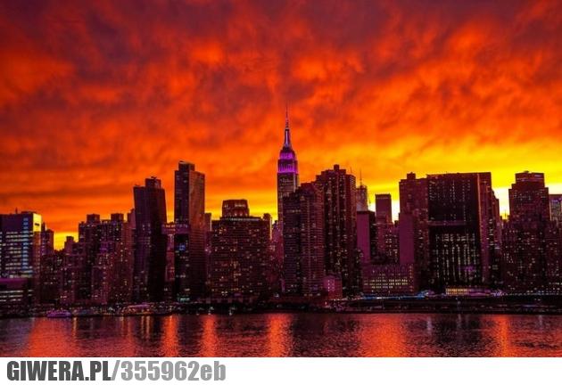Manhattan,zachód słońca,earthporn