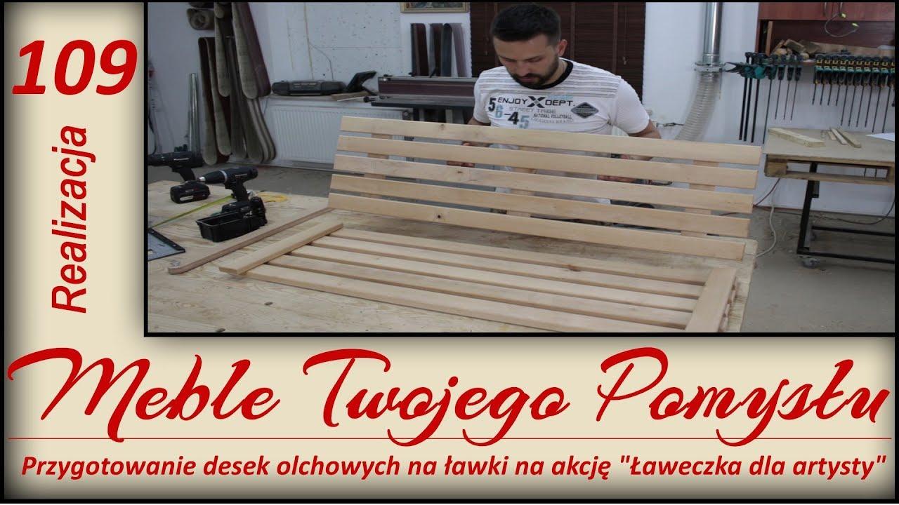 Przygotowanie desek olchowych na ławki na akcję Ławeczka dla artysty