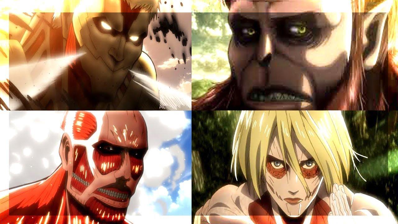 UMIEJĘTNOŚCI TYTANÓW (Colossal titan, Armored titan, Female titan, Beast titan, Attack titan) - SNK