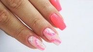 Neon Pink and Leaves nails art tutorial / Eveline Cosmetics