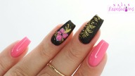 Gold & Pink flowers nails art tutorial / Elisium Nails