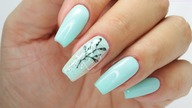 Minty nails and Little leaves nails art tutorial / Eveline Cosmetics