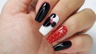 Minnie Mouse nails art tutorial / Charbonne