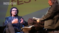 Tony Iommi 2018-08-19 Whitley Bay Film Festival  also film director Dick Carruthers.  Interviewed by presenter Chris Phipps.