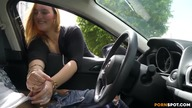 Cute blonde gives me nice hand job in public parking lot