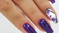 Violet flowers nails art tutorial / sunflower professional