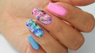 Pink and Blue Quartz nails art Tutorial /Sunflower Professional